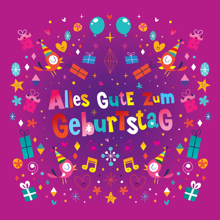 Alles Gute zum Geburtstag Deutsch German Happy birthday vector design Illustration