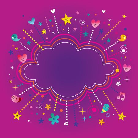 幸せな楽しいバースト爆発漫画雲形バナー フレーム