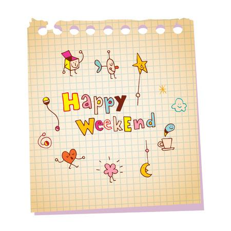 Glückliche Wochenendnotizbuch-Papiermitteilung mit einzigartiger Handbriefgestaltung Standard-Bild - 83434681