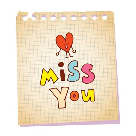 당신이 심장 문자로 메모장 종이 메시지를 그리워합니다.