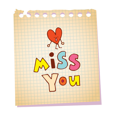 miss you notepad paper message with heart character 向量圖像