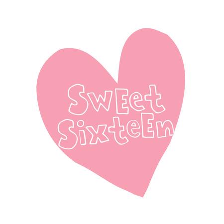 sweet sixteen heart shaped design Иллюстрация