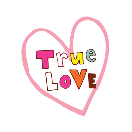 진정한 사랑의 심장 모양의 핸드 레터링 디자인 일러스트