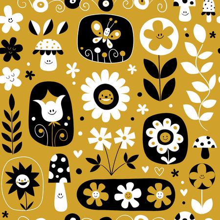 A cute flowers mushrooms nature pattern illustration.