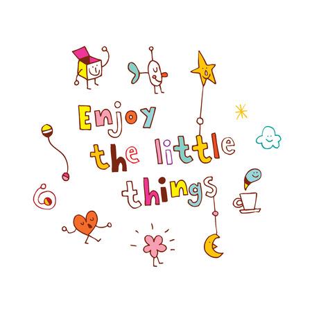 'Geniet van de kleine dingen'-citaat versierd met verschillende schattige iconen