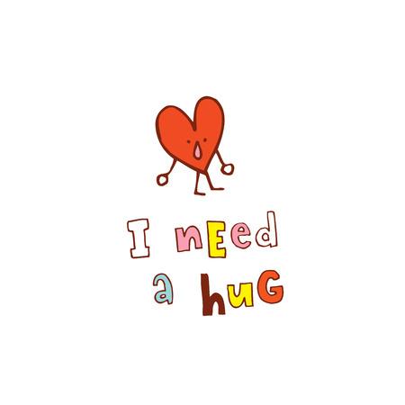 ヒューマノイドのハート アイコンとキャプションを「抱擁が必要」 写真素材 - 83435304