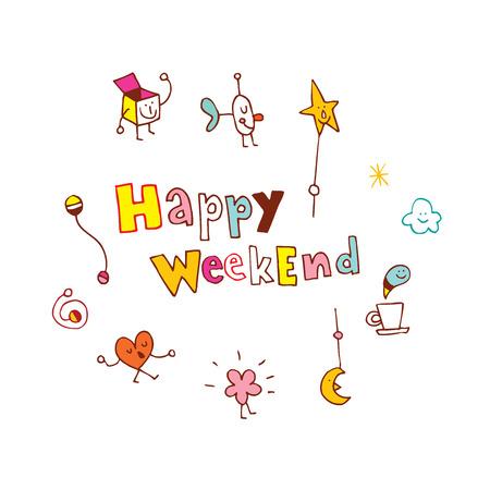 Happy Weekend Vectores