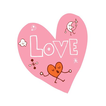 Love heart shaped design with hand lettering 向量圖像