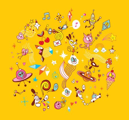fun cartoon characters group design elements 向量圖像