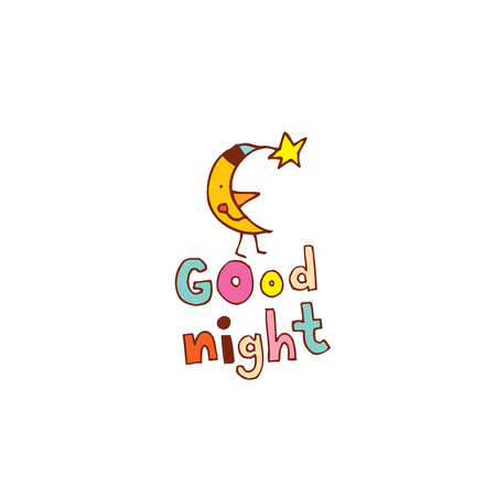 Good night hand lettering design with moon character