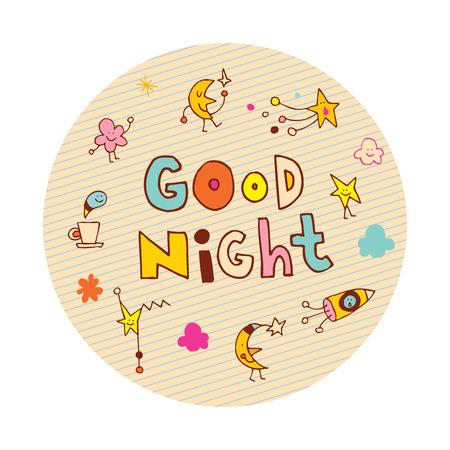 Bonne nuit design en cercle Banque d'images - 83796243