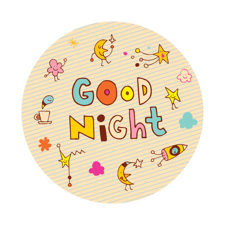 Good night circle design Illustration
