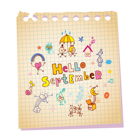 Hello September note pad paper message