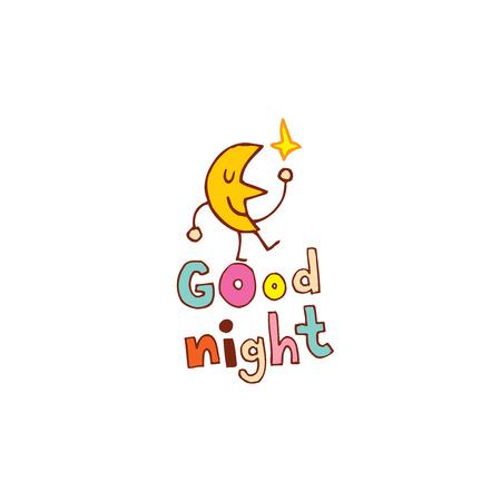 Bonne conception de lettrage de nuit avec le personnage de lune mignon Banque d'images - 83796251