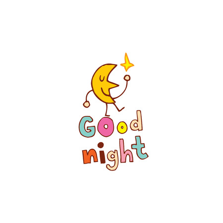 good night hand lettering design with cute moon character Illustration