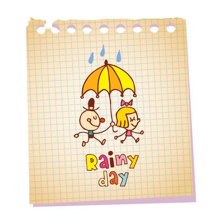 A rainy day note pad paper message Ilustração