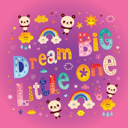 Dream big little kids nursery art with cute baby panda bears Banque d'images - 84826305
