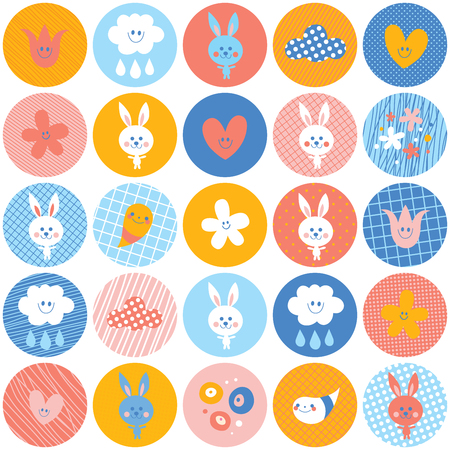 Circles pattern baby bunnies flowers clouds.