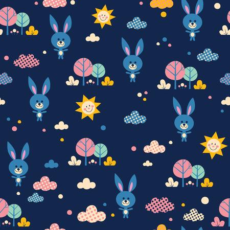 Lindos conejitos en patrones sin fisuras de bosque Foto de archivo - 84826306