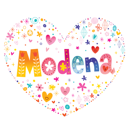 Modena city in Italy on a heart on colorful presentation.