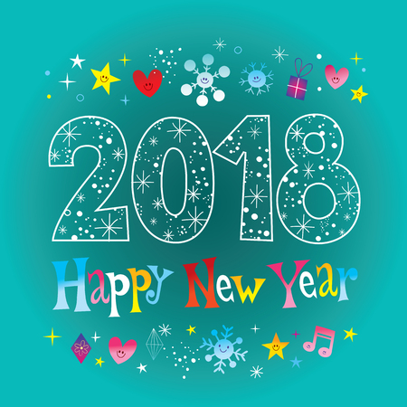 Happy New Year 2018 greeting card Çizim