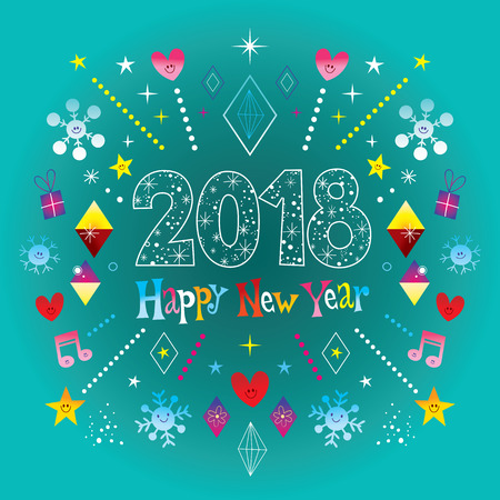 新年おめでとう2018  イラスト・ベクター素材