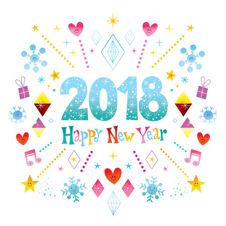 Happy New Year 2018 greeting card Illustration