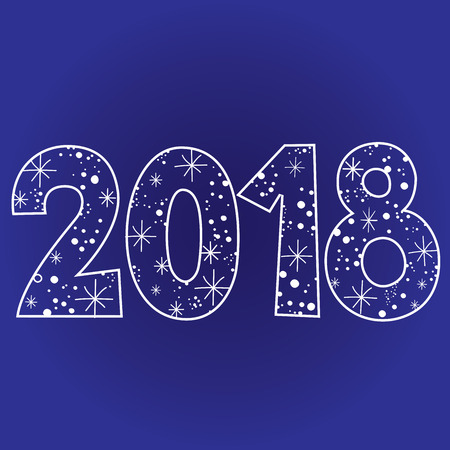 2018 new year two thousand eighteen decorative number