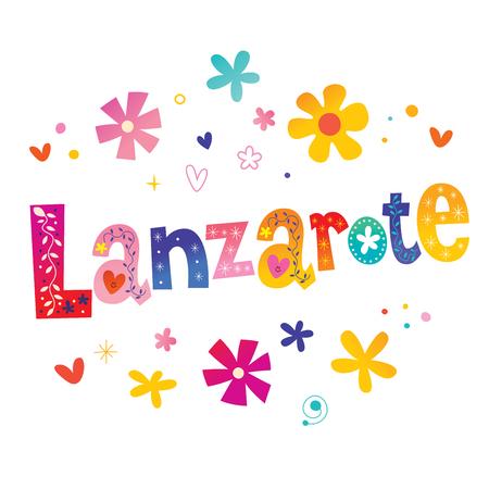 Lanzarote 스페인어 섬 벡터 일러스트 레이 션.