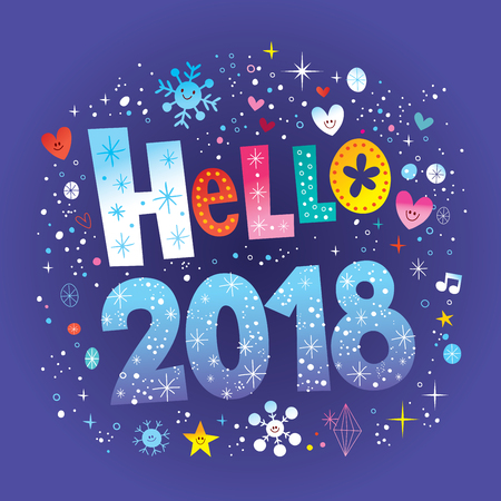 Hello 2018 Vector illustration.