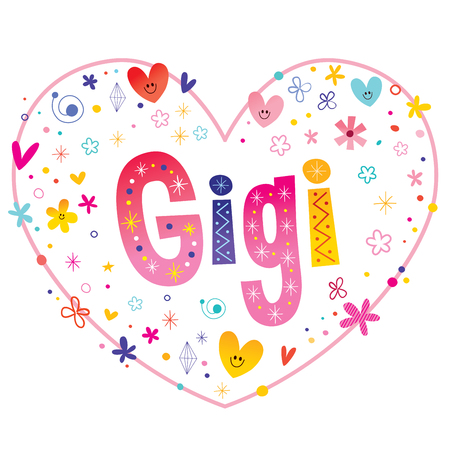 Gigi girls name decorative lettering heart shaped love design