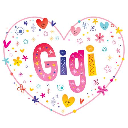 ジジの女の子名前装飾レタリング ハート愛設計