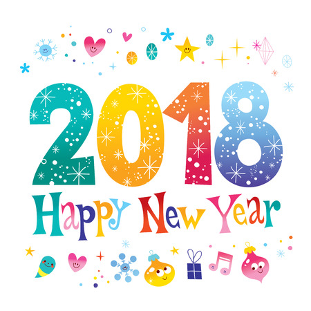 2018 new year two thousand eighteen greeting card