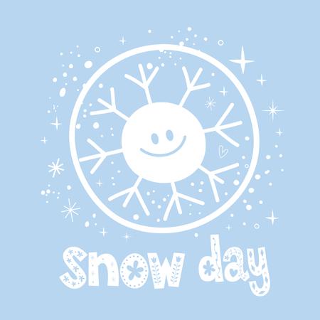 Projeto de inverno neve dia com caráter de floco de neve bonito Foto de archivo - 92926164