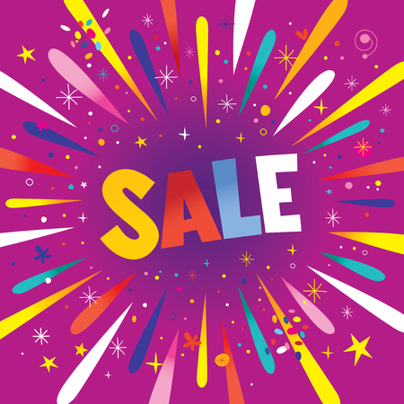 SALE banner poster with burst explosion