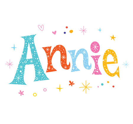 Annie - girls name decorative lettering type design Vettoriali