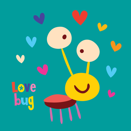 Love bug, cartoon element with big eyes and surrounded by different colors of heart. Ilustração