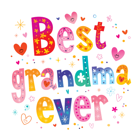 Best grandma ever colorful pattern design.  イラスト・ベクター素材