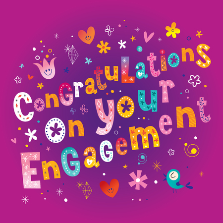 Congratulations on your engagement retro greeting card 일러스트