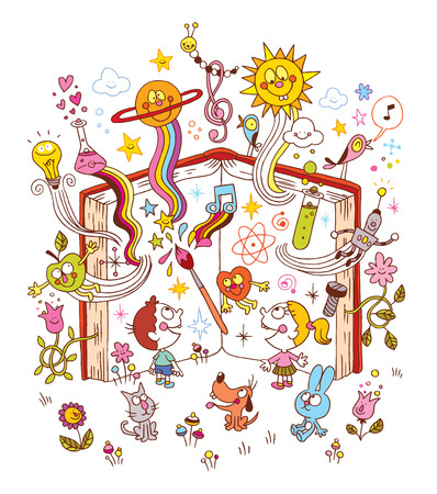 open boek - onderwijs, leren, kennis, literatuur, wetenschap, natuur illustratie