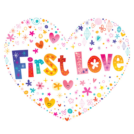 First love colorful pattern design.