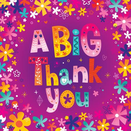 Wielką kartkę z życzeniami z podziękowaniami Ilustracje wektorowe