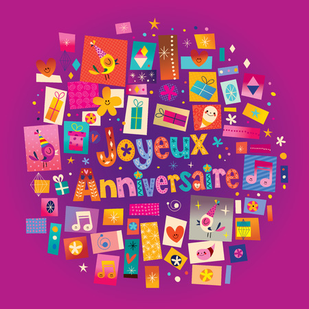 Joyeux Anniversaire Happy Birthday in French greeting card Иллюстрация