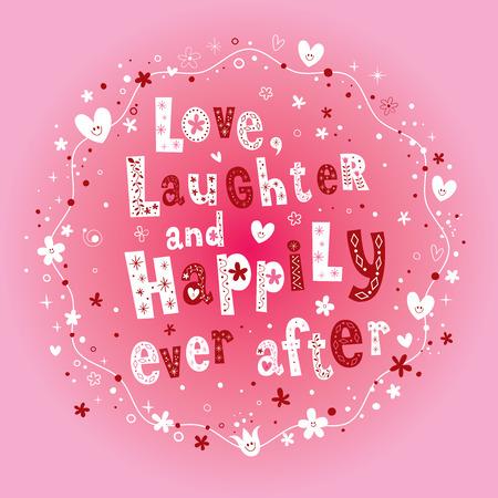 愛の笑いと幸せな結婚式のデザインの後。  イラスト・ベクター素材