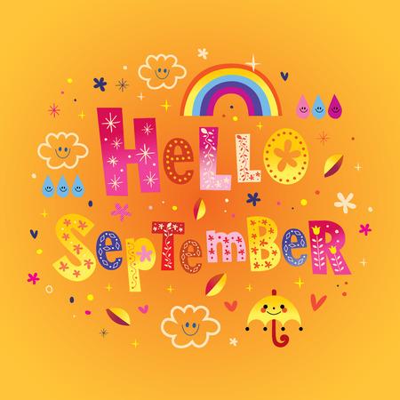 Hallo September Grußkarte Standard-Bild - 93345051