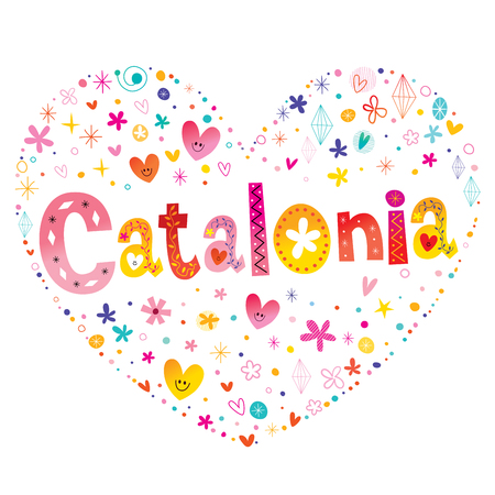 Catalonia autonomous community of Spain heart shaped type lettering vector design. Ilustração