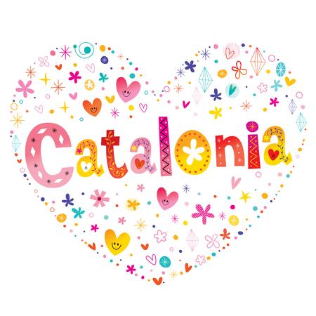 Comunidad autónoma de Cataluña de España tipo en forma de corazón deletreado diseño del vector. Foto de archivo - 93344767