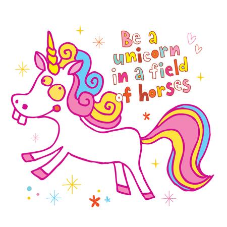 Seja um unicórnio em um campo de ilustração de design motivacional de cavalos. Foto de archivo - 93364671