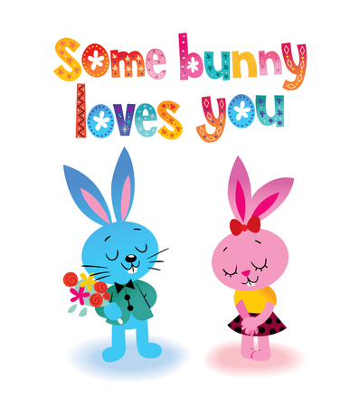 Some bunny loves you illustration. Ilustrace