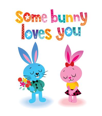 Some bunny loves you illustration. Illustration